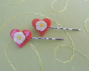 heart and flower cold porcelain hairpin