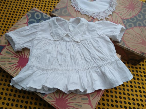 Victorian Baby Dress Pleated French Cotton Handmade Collectible Doll Clothing #sophieladydeparis