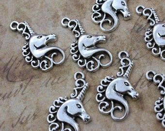 Bulk 40 Unicorn Charms Unicorn Pendants  Antiqued Silver Tone 15 x 23 mm