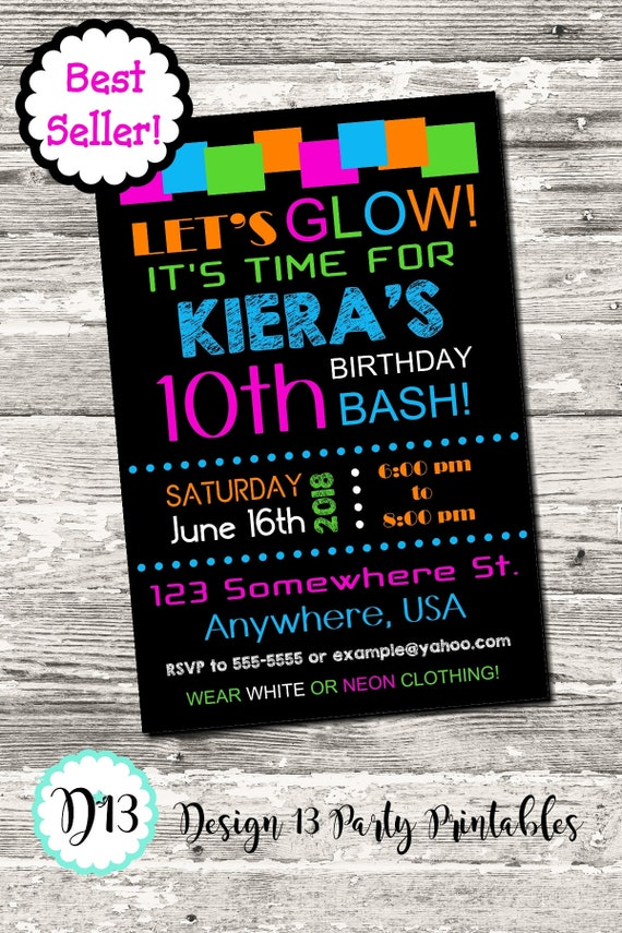 Glow Neon Birthday Party Invitation Printable Digital by Design 13 ...