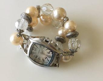 Womens Watch/Womens Peach Watch/Beaded Watch/Watch/Peach Watch Band/Womens Peach Watch Band/Stretch Watch Band/Womens Beaded Watch (94)