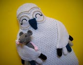 Snowy Owl Hot Water Bottle Cover Cozy PDF CROCHET PATTERN Animal Pyjama Case Pillow with mouse