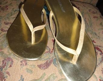 Gold Thong Sandals . 8 5M . Gold Metallic  . Montego Bay . Holiday Thong Sandal . Minimalist Sandal . Thong Sandal . Shoe 5
