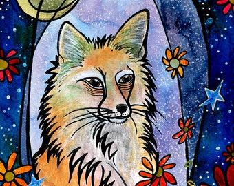 Fox Art Print, Fox Painting, Kids Room Decor, Fox Giclee from Acrylic Painting