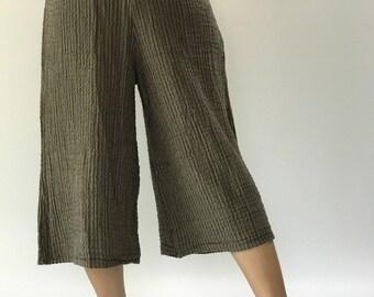 HC0102  wide leg Lady Cotton Gauze  Yoga Pants Super Soft. Elastic waist