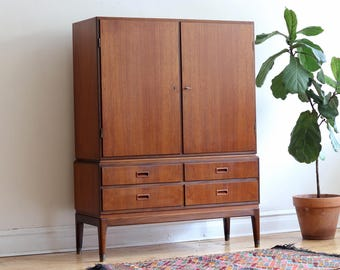 Mid-Century Danish Modern Locking Teak Armoire