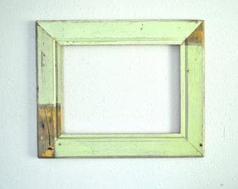 12 x 16 Chippy Green and Exposed Wood Frame, Reclaimed Old Homestead, One-of-a-kind