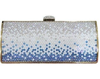 Swarovski ELEMENTS Patterned Minaudiere Blue & white Opal Ombre Silver Shade Crystal Metal rectangle clutch bag
