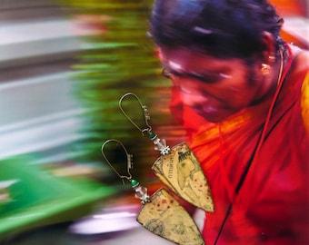 Rustic earrings Indian - earrings ethnic elephant - vintage - handmade pendant - earrings Hindu