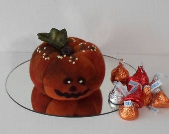 Handmade Jack O' Lantern Pincushion Variegated Orange Felted Wool Pincushion