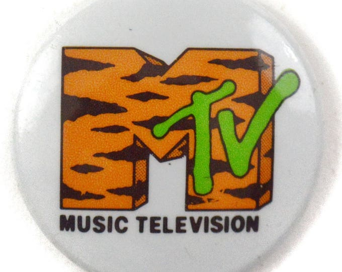 Vintage 80s MTV Music Television Tiger Stripes Logo Pinback Badge Pin Button