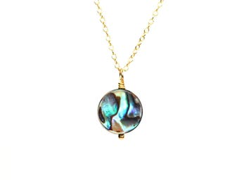 Abalone necklace - simple necklace - disc necklace - circle necklace - rainbow necklace