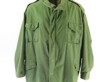 Vintage 80s M-65 Field Jacket Mens 4XL Olive Green Cotton Sateen USA Made [H56Q_3-13]