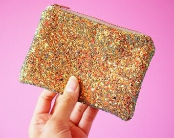 Rust Gold Glitter Coin Purse, Sparkly Gold Mini Zipped Purse, Rust Gold Purse, Sparkly Gold Coin Purse, Gold Money Pouch, Zip Pouch,