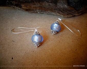 Earrings ethnic dangle & purple Lampwork Glass Beads