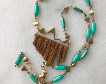 Mountain necklace with turquoise enamel detail – gold plated chain with mountain range silhouette – mountain folk fringe short necklace