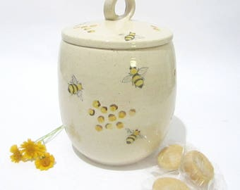 Storage Jar Cookie Lidded Canister Handmade Pottery Bee Kitchenware