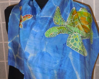 Silk scarf; sea turtles painted scarf; Hand painted silk scarf; blue scarf; hand painting scarves; gift for her #S143