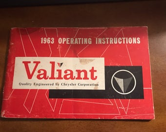 1963 Plymouth Valiant Owners Operating Instructions Manual