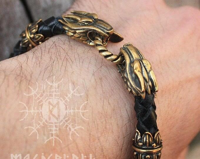 Bronze Wolf Heads Handmade Braided Genuine Leather Bracelet WHB1blk