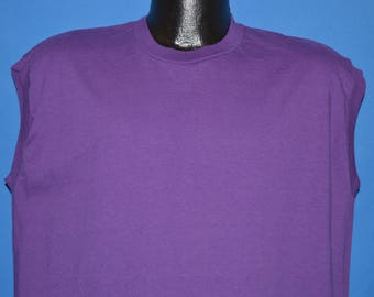 80s Jerzees Purple Sleeveless Blank t-shirt Extra Large