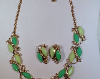 Mint Green and Light Yellow  Necklace and Earrings