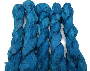 SALE NEW!  Premium Sari Silk Ribbon, Cadet Blue