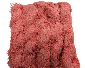 SALE New! Vegan Fuzzy Cotton Fringe Yarn, Flamingo