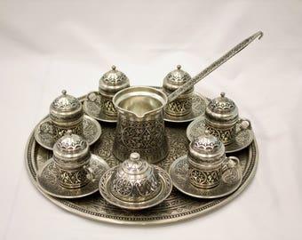 Turkish Handmade Tin Coated Copper Coffee Set (6 servings), Turkish Coffee. coffee pot, copper