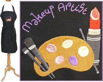 Makeup Artist Apron Lipstick Brushes & Palette Esthetician Monogram + Free Name Custom Embroidered