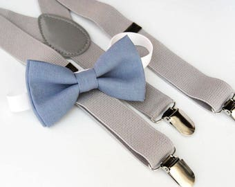 Dusty blue bow-tie & Light Gray suspender set - Groomsmen bow tie and Suspenders