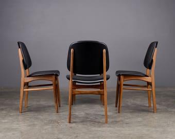 4 Mid Century Dining Chairs Danish Modern Afromosia & Black Vinyl