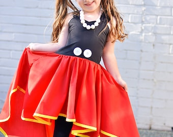 Mickey Mouse inspired high/low dress