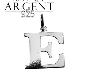 Charm letter E initial 925 sterling silver initials