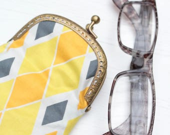 Yellow orange and grey diamond print glasses Case with Gold Snap Fastening.