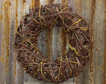 Twig Wreath, Round Twig Wreath, Rustic Decor, Twiggy Wreath, Wire and Twig Wreath, Unusual Twig Wreath, Vine Wreath, Fall Twig Wreath