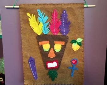 Crash Bandicoot Aku Aku Tapestry