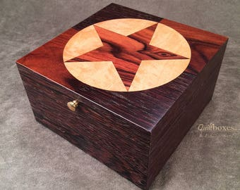 Star of the West (Texas Star) Wenge Inlay Box by Quiltboxes
