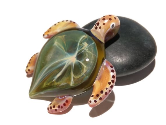 Sea Glass Jewelry - Green Universe Turtle Pendant - Rare Glass - Colorful Art Glass - Handcrafted Glass Piece - Fine Jewlery - FREE SHIPPING