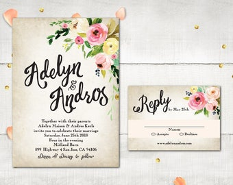 Wedding Invitation and RSVP - PeonyLand Rustic Sweet Boho Flowers Invitation Personalized Card Suite