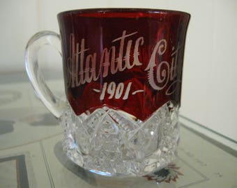 "Ruby Red Flash Glass Atlantic City Souvenir Cup -"" Percy""  1901"