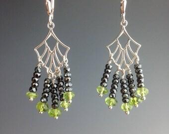 Peridot Earrings - Peridot Jewelry - August Birthstone - Hematite Earrings - Hematite Jewelry - Chandelier Earrings -Peridot Tails