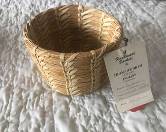 Vintage papago indian basket. Hand woven. Makers tag.