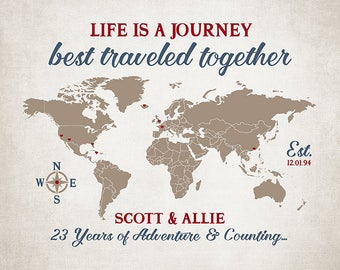 Personalized Anniversary Map of Travels, Life is a Journey Best Traveled Together, Any Anniversary, 23rd Anniversary, 23 Years Married WF600