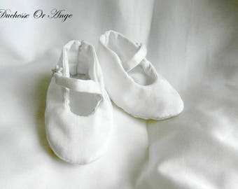 White cotton sateen - 0/3 months baby shoes
