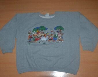 Vintage 1991 LOONEY TUNES Cartoon Warner Bros Disney Tasmanian Devil L Size 90s Sweatshirt T-shirt