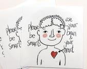 vegane Aufkleber 3 Stück Herz und Verstand