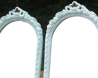 2 Tall Shabby French Mirrors with Roses- Bombay Company