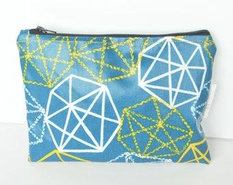 Make up bag with PUL / Waterproof /Geometry in blue