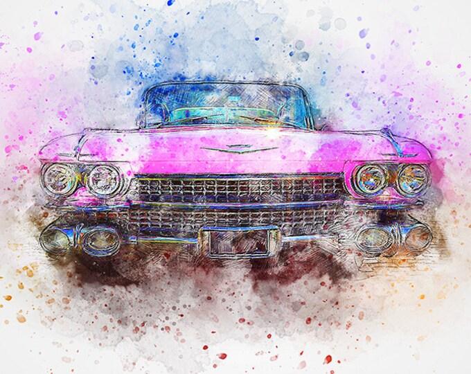 pink cadillac watercolor art print
